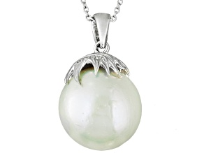 White Cultured Freshwater Pearl Rhodium Over Sterling Silver Solitaire Pendant