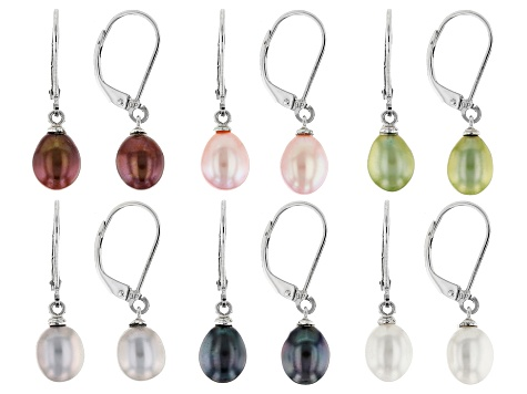 Cultured Freshwater Pearl Rhodium Over Sterling Silver Earring Set Of 6