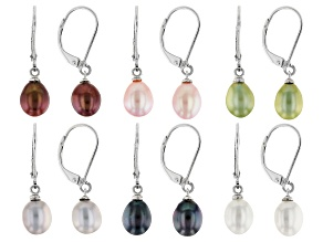 Mulit Color Cultured Freshwater Pearl Rhodium Over Sterling Silver Earring Set Of 6