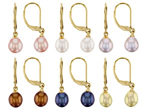 Multi Color Cultured Freshwater Pearls 18k Yellow Gold Over Sterling Silver Earrings Set of 6