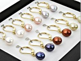 Cultured Freshwater Pearls 18k Yellow Gold Over Silver Earrings