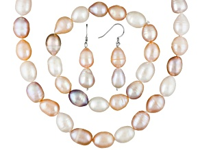 Multi-Color Cultured Freshwater Pearl Silver Necklace, Bracelet, Earring Set