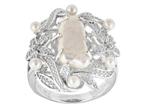 White Cultured Freshwater Pearl, Diamond Simulant Silver Ring