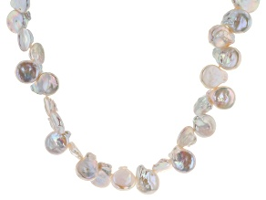 White Cultured Freshwater Pearl Rhodium Over Silver 28
