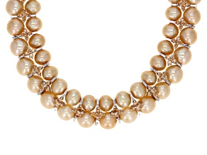 Golden Cultured Freshwater Pearl, Diamond Simulant Necklace 18