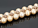 Golden Cultured Freshwater Pearl Silver Tone Necklace 18