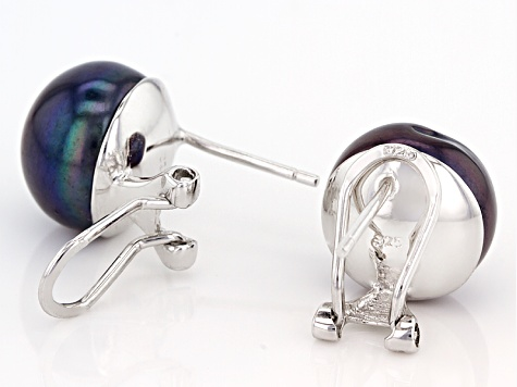 Black Cultured Freshwater Pearl Rhodium Over Silver Omega Earring