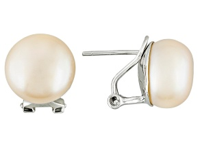 peach cultured freshwater pearl rhodium over silver omega earring