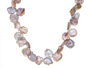 Keshi Pink Cultured Freshwater Pearl Silver Necklace 36 inch