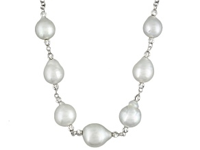White Cultured South Sea Pearl Sterling Silver Necklace 18 inch 8-11mm