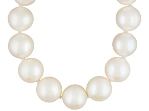 White Cultured Freshwater Pearl Rhodium Over Sterling Silver Necklace 12mm