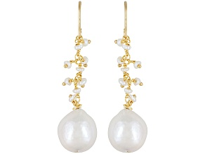 White Cultured Freshwater Pearl 18k Yellow Gold Over Silver Earrings