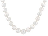 White Cultured Freshwater Pearl, Diamond Simulant Silver Necklace