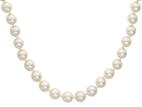 White Cultured Freshwater Pearl, Diamond Simulant Silver Necklace 12-15mm