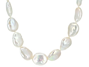 White Cultured Freshwater Pearl Rhodium Over Silver 18