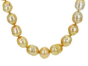 Golden Cultured South Sea Pearl 14k Yellow Gold Over Silver Necklace
