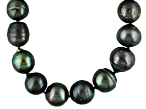 12-15mm Black Cultured Tahitian Pearl Sterling Silver 18 inch Necklace