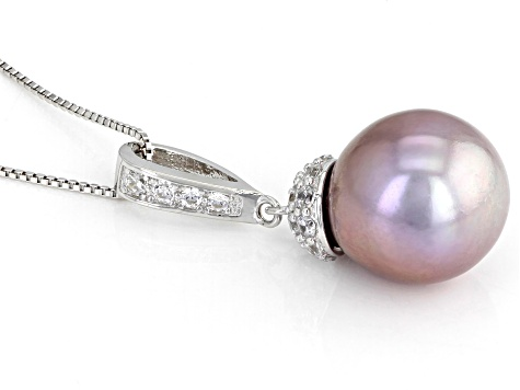 Lavendar Cultured Kasumiga Pearl Sterling Silver Pendant 12-13mm