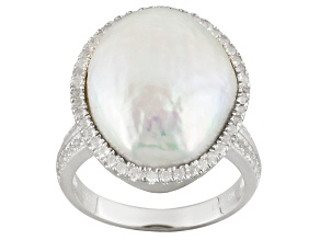 White Cultured Freshwater Pearl, White Topaz Rhodium Over Silver Ring
