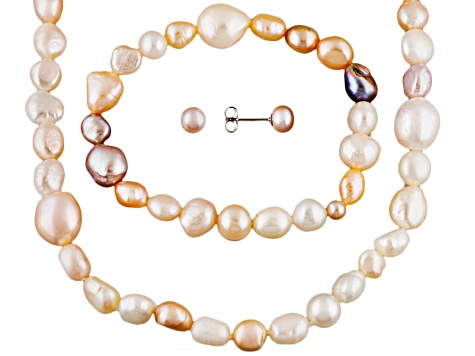 Multi-Color Cultured Freshwater Pearl Silver Jewelry Sets