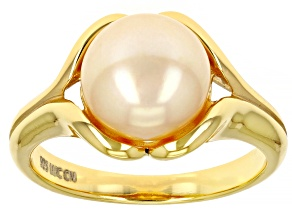 Womens Solitaire Ring Golden Yellow Freshwater Pearl Sterling Silver