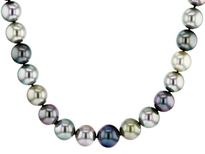 Multi-Color Cultured Tahitian Pearl With Diamond 14k Yellow Gold 17.5 Inch Strand Necklace 14-15mm