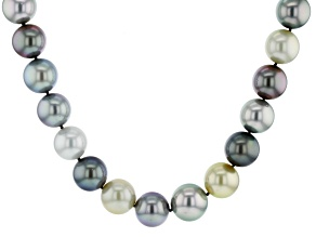 Multi-Color Cultured Tahitian Pearl With Diamond 14k Yellow Gold 18 Inch Strand Necklace 15-17mm