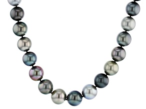 Multi-Color Cultured Tahitian Pearl With Diamond 14k White Gold 17.5 Inch Strand Necklace 13-15mm
