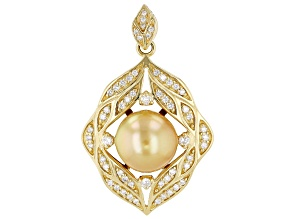 Golden Cultured South Sea Pearl With Diamond 0.6ctw 18k Yellow Gold Pendant