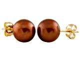 7-7.5mm Chocolate Cultured Freshwater Pearl 14k Yellow Gold Stud Earrings
