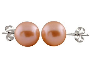 Pearlfection® 7-7.5mm Pink Cultured Freshwater Pearl 14k White Gold Stud Earrings