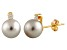 7-7.5mm Cultured Freshwater Pearl With Diamond 14k Yellow Gold Stud Earrings