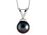 8-8.5mm Black Cultured Freshwater Pearl Sterling Silver Pendant With Chain