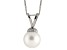 8-8.5mm White Cultured Freshwater Pearl Sterling Silver Pendant With Chain