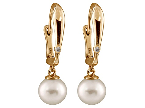 8-8.5mm White Cultured Freshwater Pearl Diamond 14k Yellow Gold Earrings