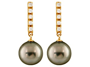 9-9.5mm Cultured Tahitian Pearl With 0.20ctw Diamond 14k Yellow Gold Earrings