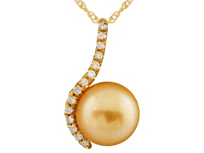 10-11mm Cultured South Sea Pearl Diamond 14k Yellow Gold Pendant With Chain