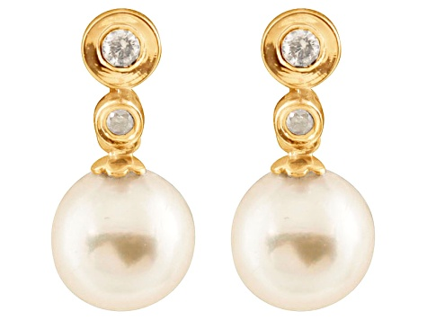 7-7.5mm White Cultured Japanese Akoya Pearl Diamond 14k Yellow Gold Earrings