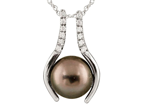 10-10.5mm Cultured Tahitian Pearl With Diamond 14k White Gold Pendant