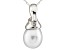 8-8.5mm Cultured Freshwater Pearl With Diamond 14k White Gold Pendant With Chain