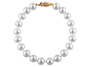 9-9.5mm White Cultured Freshwater Pearl 14k Yellow Gold Line Bracelet 7.25 inches