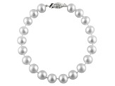 8-8.5mm White Cultured Freshwater Pearl Sterling Silver Line Bracelet 7.25 inches