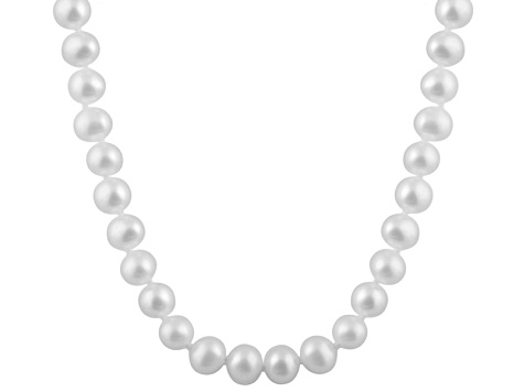 8-8.5mm White Cultured Freshwater Pearl 14k White Gold Strand Necklace 18 inches