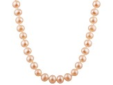 8-8.5mm Pink Cultured Freshwater Pearl Sterling Silver Strand Necklace 16 inches