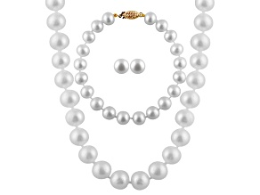 7-7.5mm White Cultured Freshwater Pearl 14k Yellow Gold Jewelry Set