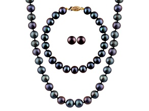 7-7.5mm Black Cultured Freshwater Pearl 14k Yellow Gold Jewelry Set