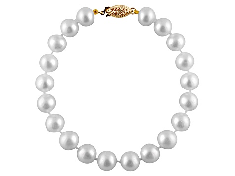 7-7.5mm White Cultured Freshwater Pearl 14k Yellow Gold Line Bracelet