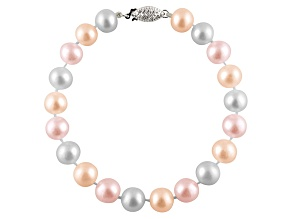 7-7.5mm Multi-Color Cultured Freshwater Pearl Sterling Silver Line Bracelet 7.25 inches