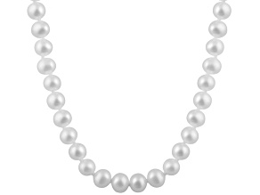 7-7.5mm White Cultured Freshwater Pearl 14k Yellow Gold Strand Necklace