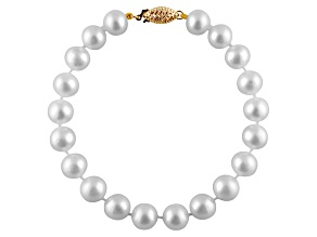 6-6.5mm White Cultured Freshwater Pearl 14k Yellow Gold Line Bracelet